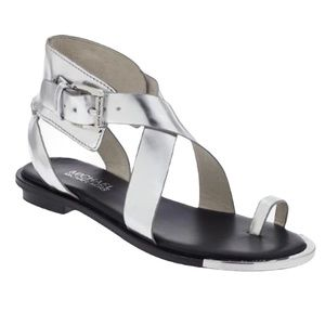 Michael Kors Silver Gladiator Sandals   7 1/2